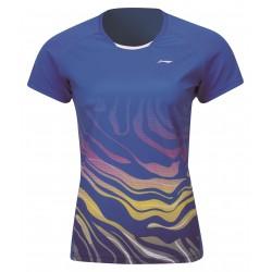 Dámske Bedmintonové tričko Li-Ning Flowting Blue dámske modré