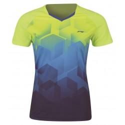 Dámske Bedmintonové tričko Li-Ning Dash dámske modro - žlté