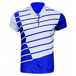 Bedmintonové polo tričko Li-Ning Cross Stripe pánske modré